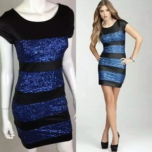 Bebe Addiction Mesh Blue Sequin Bodycon Dress